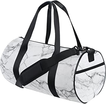 Women /& Men Foldable Travel Duffel Bag White Marble For Luggage Gym Sports
