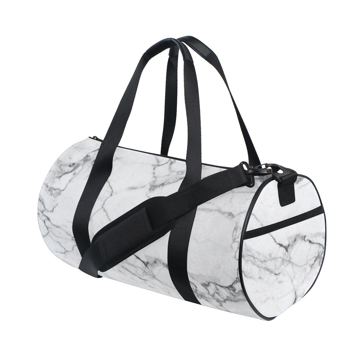 dfc586d64cf Amazon.com   Naanle White Marble Pattern Gym bag Sports Travel Duffle Bags  for Men Women Boys Girls Kids   Sports Duffels