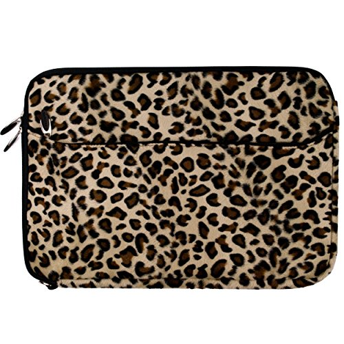 Brown Leopard Fur Covered Durable Neoprene Protective Laptop Sleeve Cover for Sony VAIO S Series 15.5 inch Laptop Models SVS15113FXS / SVS151190X / SVS1511AGXB / SVS1511BFXB + SumacLife TM Wisdom Courage Wristband (Sony Vaio Cover Laptop)