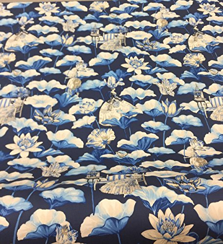 Teflon Finish Upholstery - PK Lifestyles Lotus Dreams Blue Porcelain Floral Print Fabric with Teflon finish