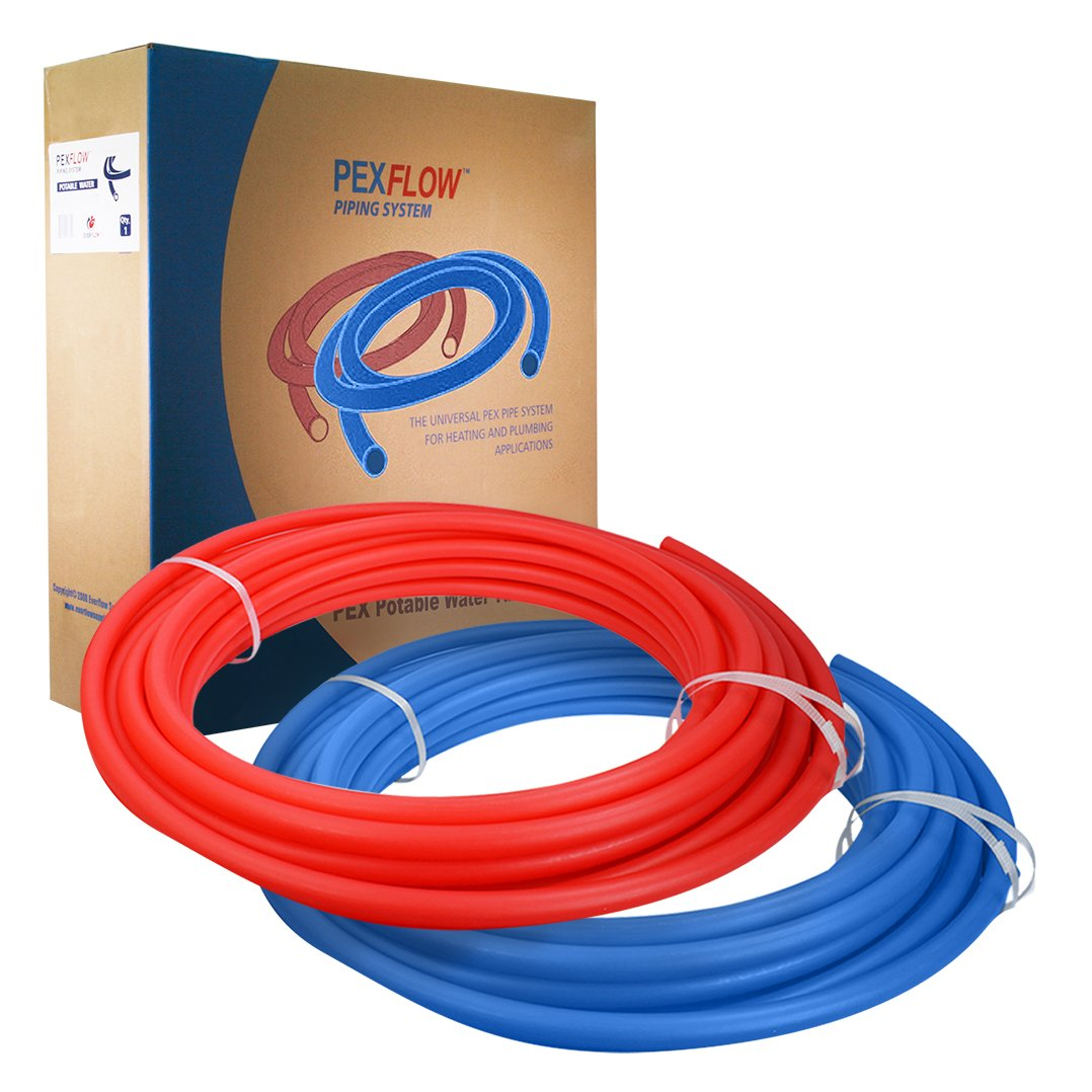 Pexflow Pex Potable Water Tubing Combo Pxkt Rb10012 1 2 Inch X 100 Electrical Wiring And Piping Feet Tube Coil For Non Barrier B Residential Commercial Hot Cold Plumbing