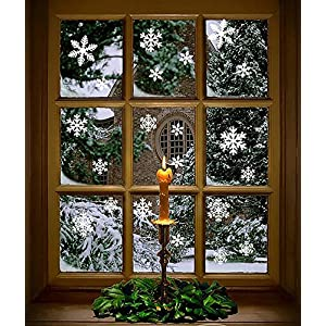 Moon Boat 320PCS Christmas Snowflakes Window Clings Decals Winter Wonderland Decorations Ornaments Party Supplies (9…
