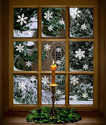 Moon Boat 102 pcs White Snowflakes Window Clings Decal Stickers Christmas Winter Wonderland Decorations Ornaments Party Supplies (5 Sheets)]()
