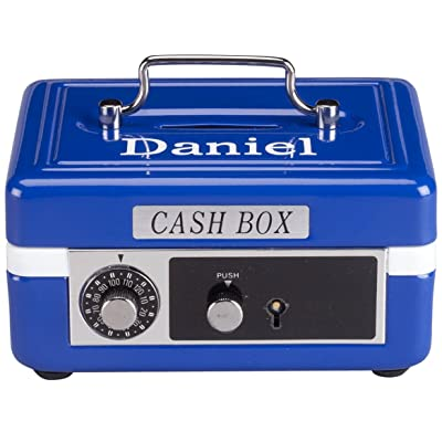 Personalized Children's Cash Box, Metal Piggy Bank Lockbox with Coin Slot, Blue : Baby