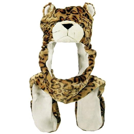 b95ca4c468a Amazon.com  Honeystore Unisex Plush Cosplay Animal Furry Beanie Hat Gloves  Scarf 3 in 1 Set Leopard  Clothing