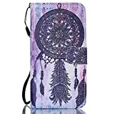 """Galaxy S6 Edge Plus Wallet Case - PhoneCase Home Magnetic Leather Purse Flip Cover with Credit ID Card Slots and Hand Strap for Samsung Galaxy S 6 Edge+(5.7"""") - Black Windbell"""