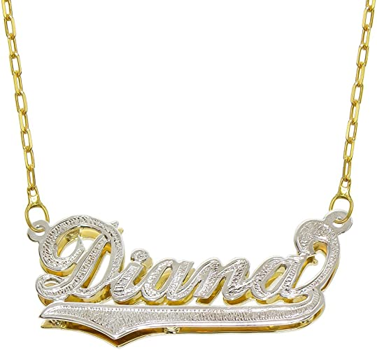 14K Solid Yellow Gold Personalized Custom Name Pendant Rolo Chain Necklace Set