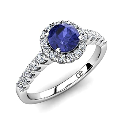 b white wedding tanzanite ring rings gold diamond claire round with engagement gemvara