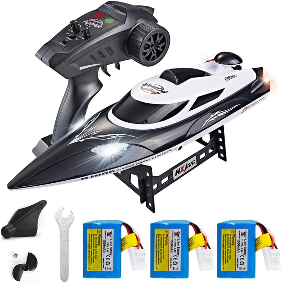XFUNY HJ806 RC Boat 2.4GHz 35km/h Fast Portable Remote Control Speedboat with 3 Batteries Professional RC Boat 200m Control Distance for Kids and Adults