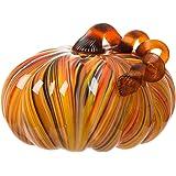 Glitzhome Multi Striped Large Glass Pumpkin