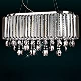 Jiuzhuo Oval 8-Light Crystal Chandelier Pendant Lighting Hanging Ceiling Fixture (Smokey Gray Crystal)