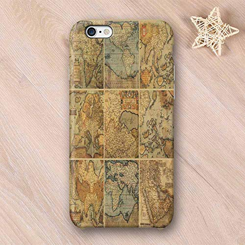 Wanderlust Decor Compatible with iPhone Case,Collage with Antique Old World Maps Vintage Style Ancient Collection of Civilization Print Compatible with iPhone X,iPhone 6/6s