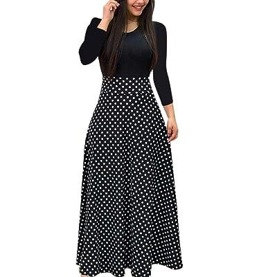 ADOSSAC - Vestido de Verano para Mujer, Estilo Retro, Dama, Manga Larga, Estampado Floral, Talla Alta, Estilo Bohemio: Ropa y accesorios
