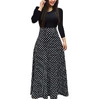 Womens Long Sleeve Floral Boho Dress Fashion Dot Floral Print Long Maxi Slim Dress Ladies Casual Dress UK Size 8-14