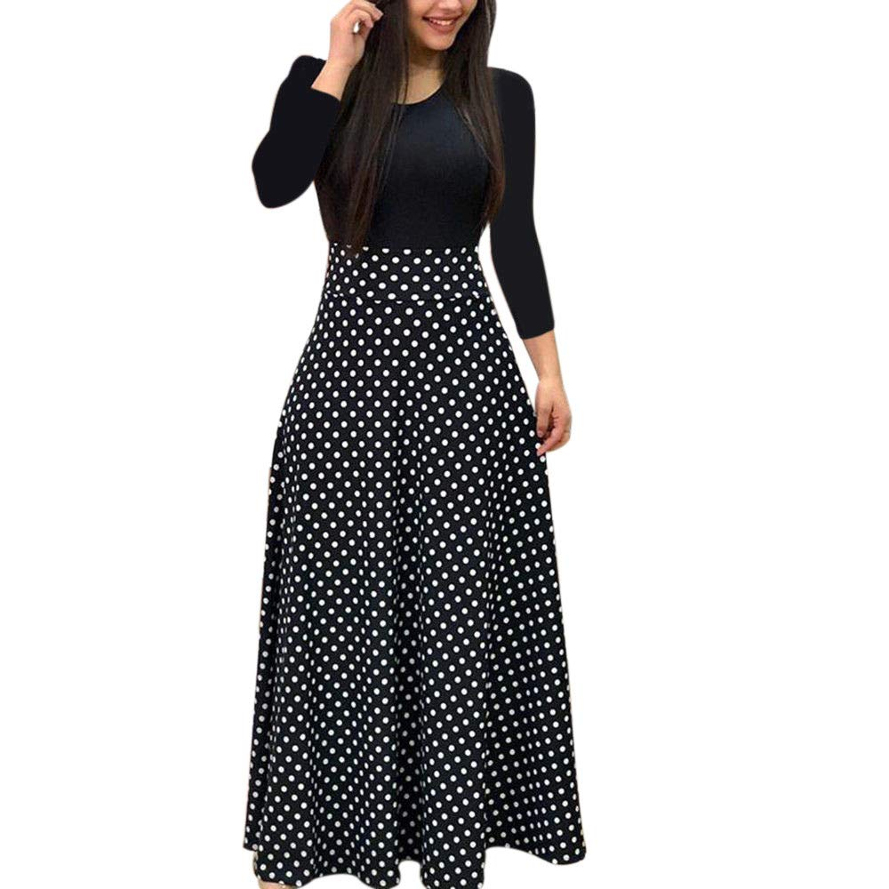 Kanhan Fashion Women Long Sleeve Floral Boho Print Slim Long Maxi Dress  High Waist Casual Dress (M, Black)