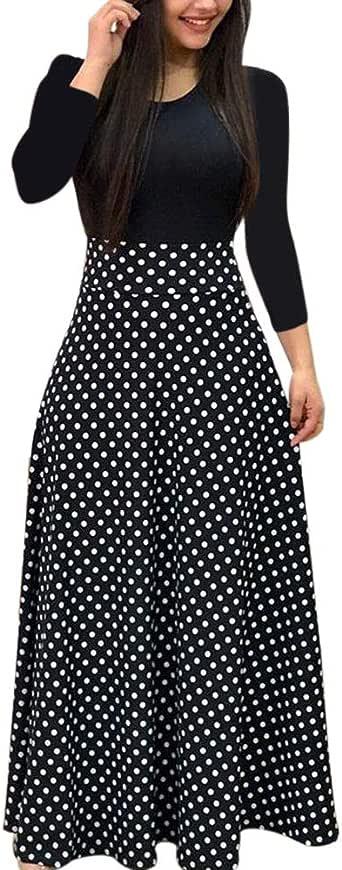 Trolimons Women Long Sleeve Dress Floral Boho Print Long Dress Ladies Casual Fashion Black