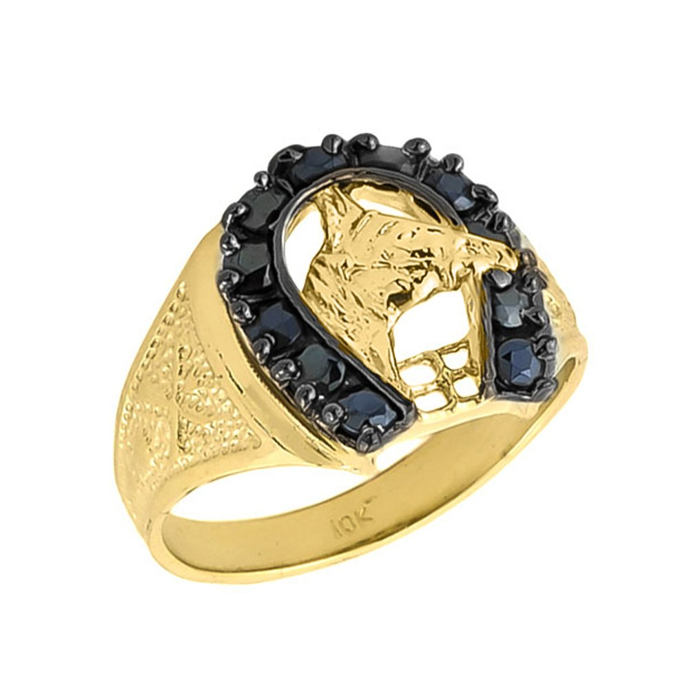 Men's Solid 10k Yellow Gold Lucky Horseshoe Ring with Black Onyx