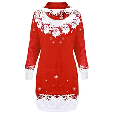 Minisoya Womens Christmas Santa Claus Snowflake Printed Hoodie Pocket Hooded Blouse Long Tops Sweatshirts (Red