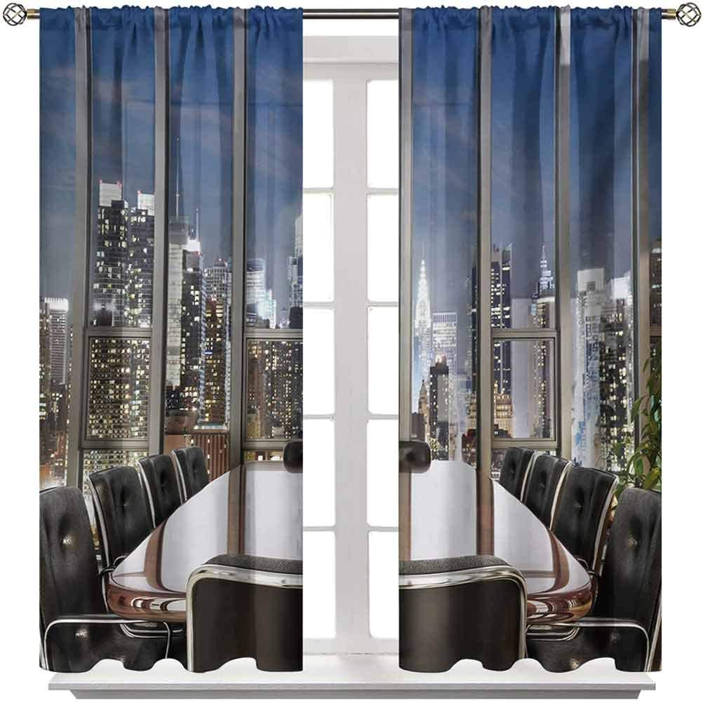 """Kitchen Curtains Modern Light Blocking Curtains Business Office Conference Room Table Chairs City View at Dusk Realistic Photo 2 Rod Pocket Panels 27"""" W x 45"""" L"""