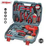 Hi-Spec 130pc AC 300 Watt Hammer Drill Combo Tool Set with Brad Point Wood, HSS Steel & Brick Drill Bit Set in a Durable Blow Mold Case