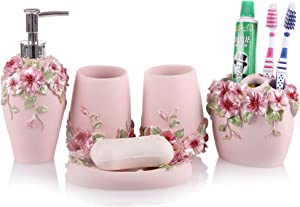 Vintage Pink Bathroom Accessories, 5Piece Bathroom Accessories Set, Bathroom Set Features, Soap Dispenser, Toothbrush Holder, Tumbler & Soap Dish - Bath Gift Set