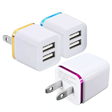 Amazon.com: Cargador de pared, 15 W Dual Port 2.1 A y 1 A ...
