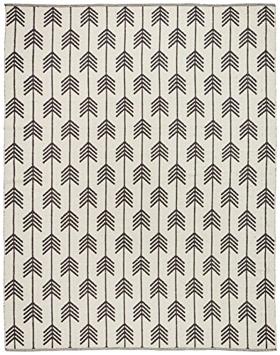 Rivet Arrow Wool Area Rug, 4 x 6 Foot, Black & Ivory