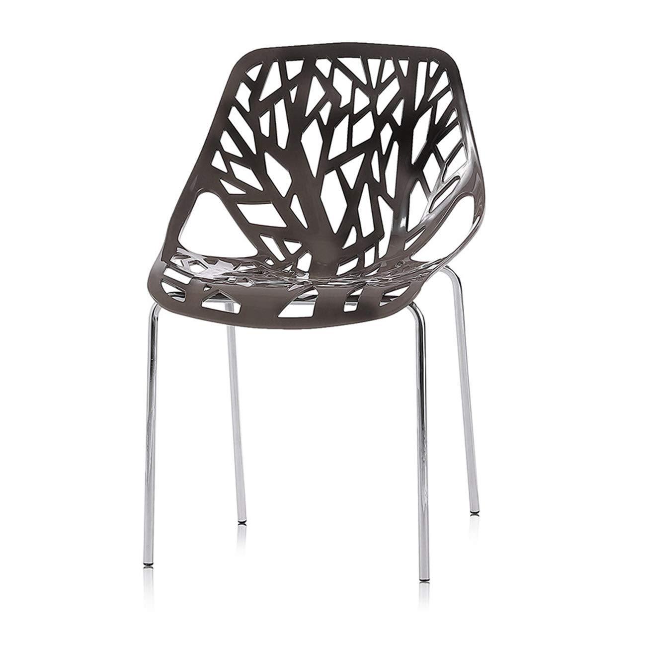 Makika Retro Stuhl Stuhl Stuhl Design Stuhl Esszimmerstühle Bürostuhl Wohnzimmerstühle Lounge Küchenstuhl Sitzgruppe 4er Set aus Kunststoff mit Rückenlehne CALUNA in Grau 28474f