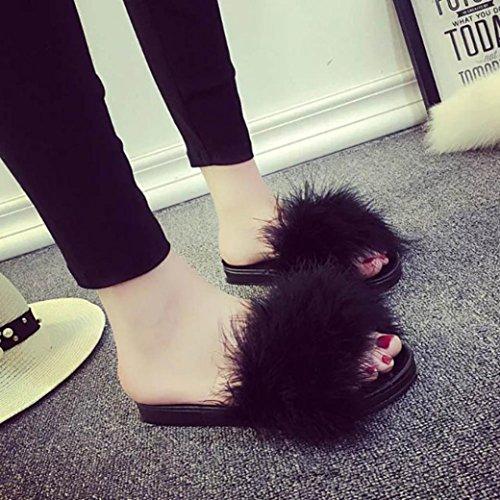 Pantofole Da Donna In Morbida Pelliccia Sintetica, Sandali Unici Con Slip Nero By Xilalu