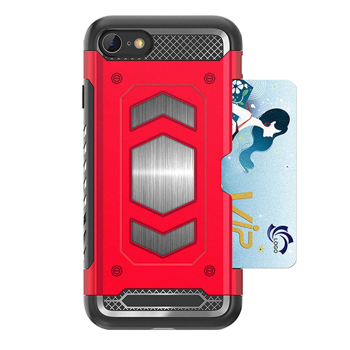 Heima Coque iPhone 8,Coque iPhone 7, iPhone 7 8 Silicone Bumper Anti-Choc de Protection Housse avec Carte Fente & Intégré Plaque en Magnétique Métal Case Etui Coque pour iPhone 7/8 (HY Série-Rouge)
