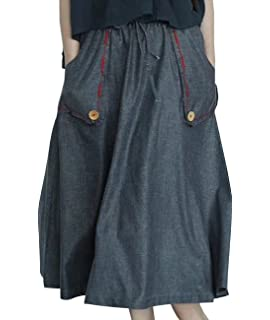 34463582ed YESNO E07 Women Girl Denim Skirts Lagenlook Handcraft Embroidery Elastic  Waist Drawstring