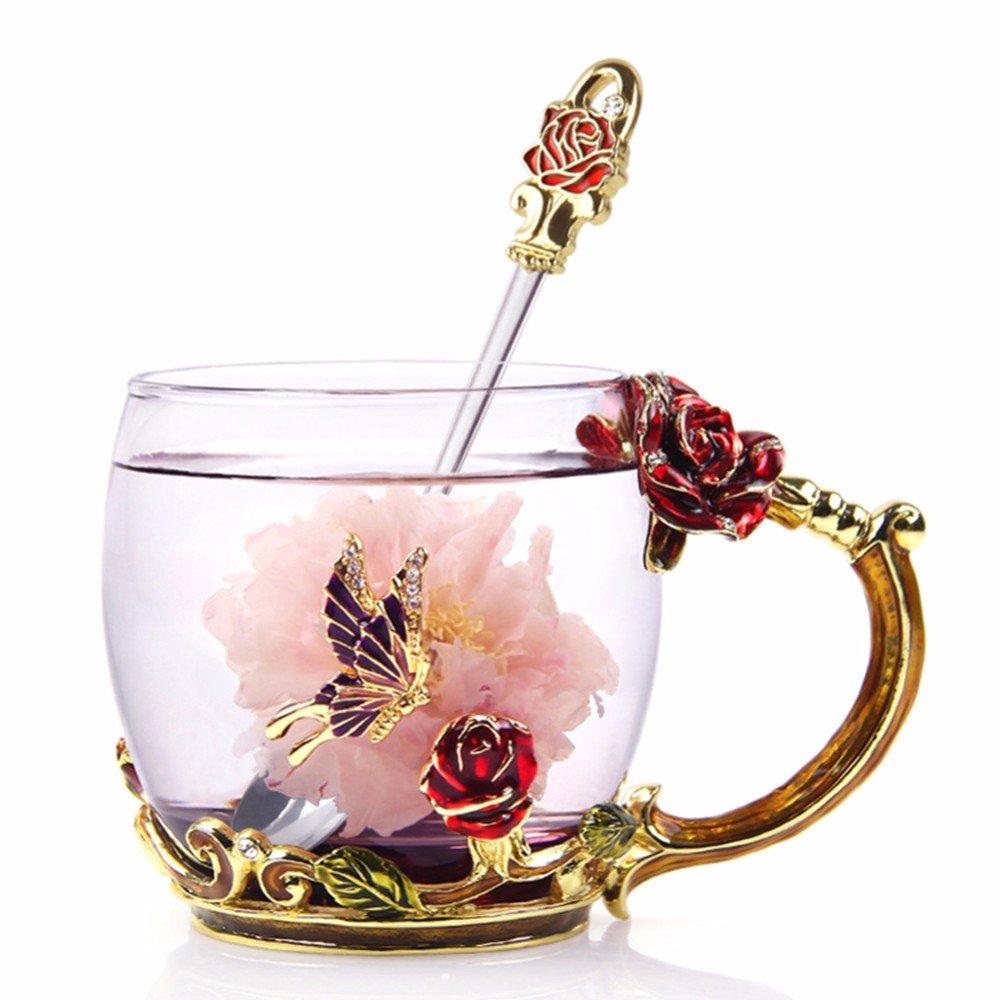 NBHUZEHUA Glass Coffee Cups Tea Mugs 2018 Best Friend Wedding Anniversary Birthday Presents Unique Mothers Day Gift for Women Mom Her Girls Grandma 07