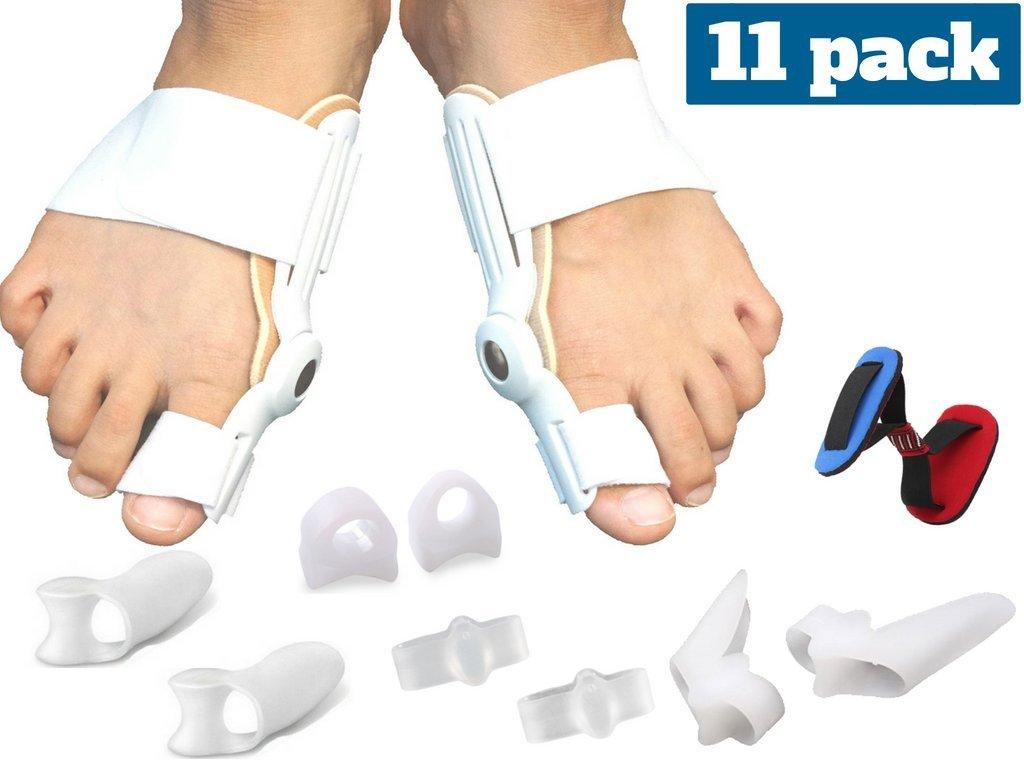 Medical grade - Bunion corrector and Pain relief kit - 11 piece Hallux Valgus straightener brace and splint