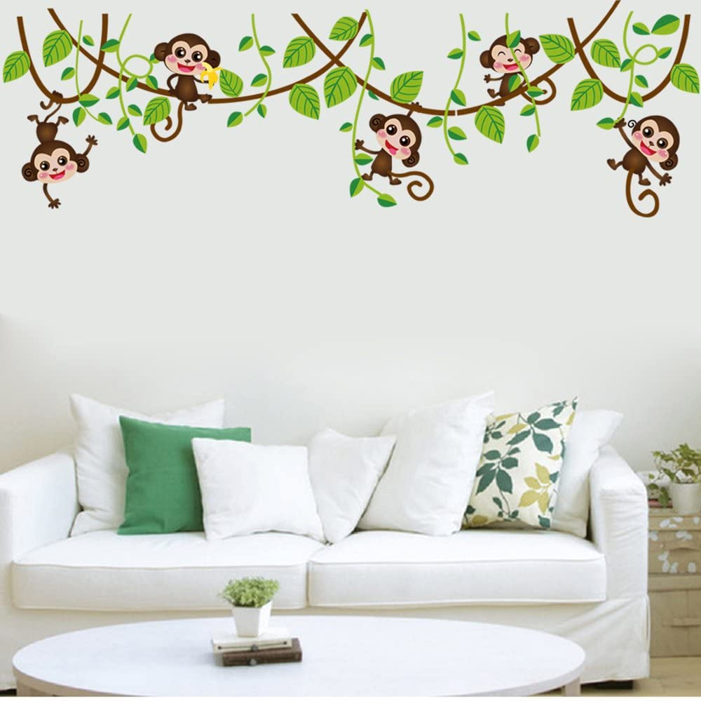 decalmile Cartoon Monkeys Climbing Tree Wall Stickers Kids Room Wall Decals Baby Nursery Bedroom Wall Decor (5 Monkeys)