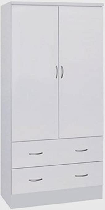 Nice Hodedah Two Door Wardrobe, With Two Drawers, And Hanging Rod, White