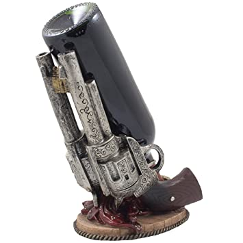 Classic Country Western Six Shooter Pistols Wine Bottle Holder Statue In Vintage Wild West Home