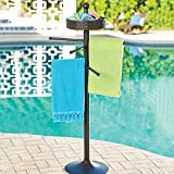 Brown Resin Wicker Pool Spa Towel Hanging Bar Rack Stand Freestanding Outdoor