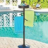 Brown Resin Wicker Pool Spa Towel Hanging Bar Rack Stand Freestanding Outdoor