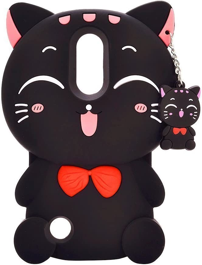 Mulafnxal Black Lucky Cat Case for LG K20 V/K20 Plus/LV5/Harmony,Soft 3D Silicone Cover,Cute Cartoon Animal Rubber Cases,Fun Kawaii Character Unique Girls Kids Shockproof Protector for LG K10 2017