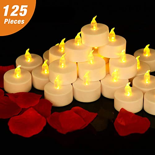 RY King 125 Pack Flameless Tea Lights Candles Warm Yellow 100 Hours Battery Operated LED Tealight Candles. Ideal for Party, Wedding, Birthday, Gifts and Home Decoration