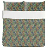 Filigree Paisley Duvet Bed Set 3 Piece Set Duvet Cover - 2 Pillow Shams - Luxury Microfiber, Soft, Breathable