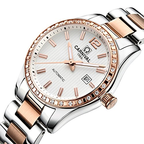 Couple Stainless Steel Automatic Mechanical Watch Sapphire Glass Watches for Her or His Gift Set 2 (Rose Gold/White) by MASTOP (Image #2)