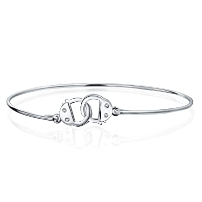 23499cb0f Amazon.com: Minimalist Partner In Crime Handcuff Working Lock Bracelet Thin  Bangle For Women For Teen CZ Accent 925 Sterling Silver: Silver Bracelet  With ...