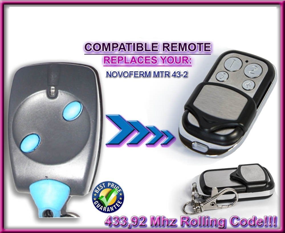 NOVOFERM MTR43-2 Compatible mandos a destancia. Transmisor de reemplazo compatible. 433,92Mhz Rolling code!!!