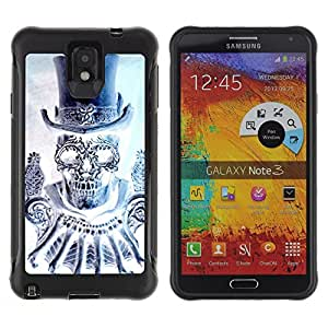 BullDog Case@ Top Hat Bling Diamond Skull Death Rugged Hybrid Armor Slim Protection Case Cover Shell For Note 3 Case ,N9000 Leather Case ,Leather for Note 3 ,Case for Note 3 ,Note 3 case
