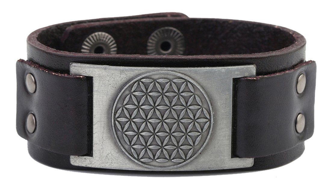 Lemegeton Pagan The Flower of Life Crafts Connector Leather Cuff Bracelet Men Women Jewelry (brown antique silver)