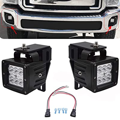 2x 3 Inch 18W LED Fog Light Pod W/Plug Wiring Kit & Hidden Bumper Replace Fog Lamp Mounting Brackets for 1999-2016 Ford F250 F350 F450 Super Duty & 2000-2005 Ford Excursion: Automotive