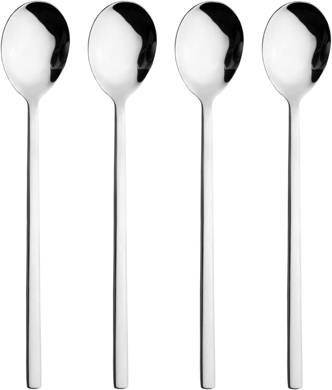 Spoons 4 Pack Stainless Steel Soup Spoons Square and Round Dinner Rice Spoons for Home Kitchen