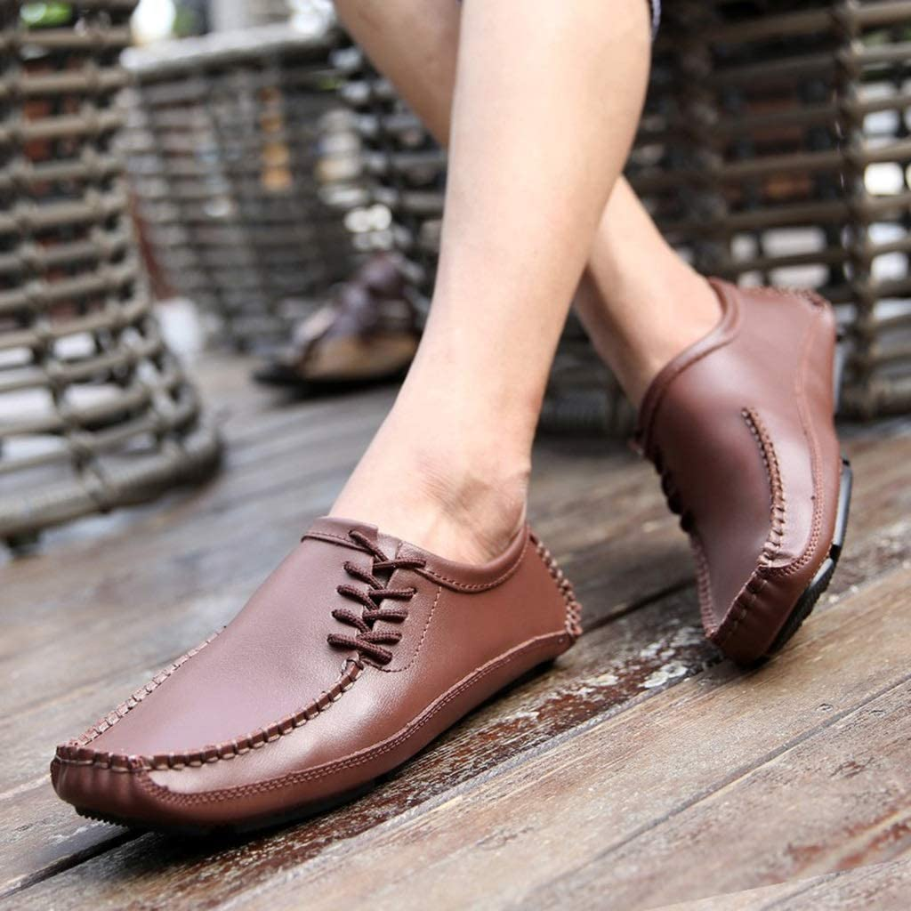 Color : Brown, Size : 46 ChengxiO New Business Casual Shoes Mens Sets of Feet Light Soft Bottom Peas Shoes Lazy Shoes Large Size Driving Shoes Wear Breathable Large Size Mens Shoes