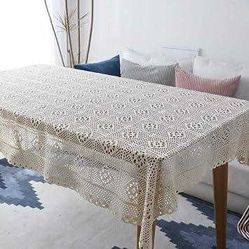 Clásico Manteles Algodón Manual Tejer Tejeduría Casa Rectángulo Toalla Cubierta Manteles Toalla de Piano lechoso,